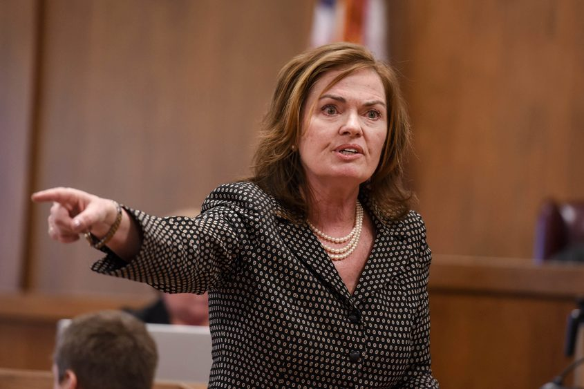 Then-Warren County District Attorney Kathleen Hogan gives her opening statement during Alexander West's trial.