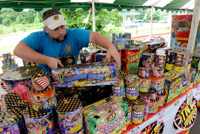 Jason Duke sells TNT Fireworks products from a tent on Round Lake Road in Round Lake.