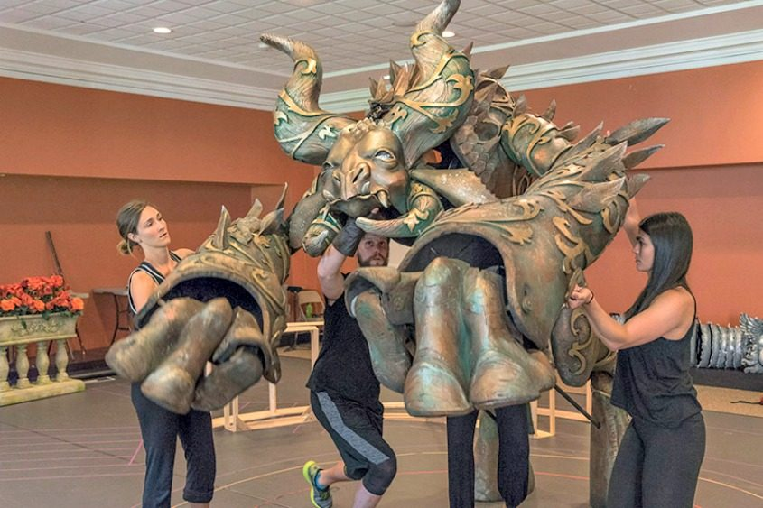 """Puppeteers rehearse with the Beast for Opera Saratoga's production of """"Beauty and the Beast"""" (Zémire et Azor)."""