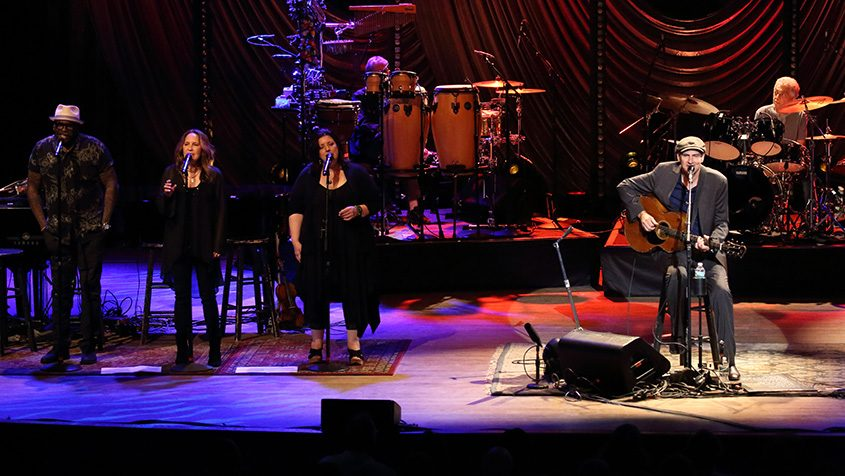 James Taylor and band perform Tuesday night at Tanglewood.