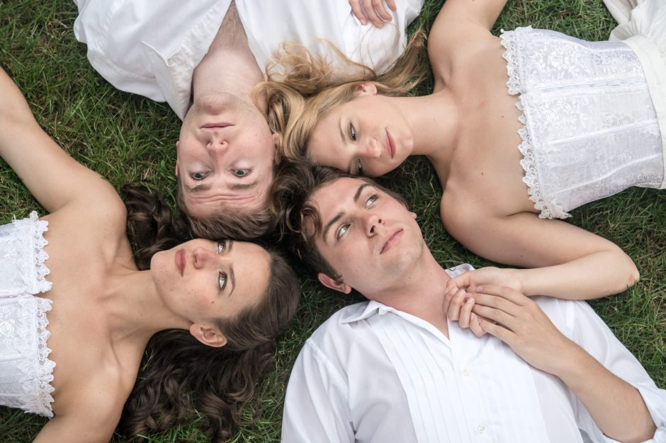 Clockwise from top: Brian Ott (Lysander), Lucy Miller (Helena), Jorden Charley-Whatley (Demetrius) and Shayna Schmidt (Hermia).