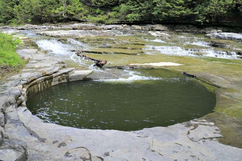 The famous pothole is shown in the Canajoharie Creek in June 2016.