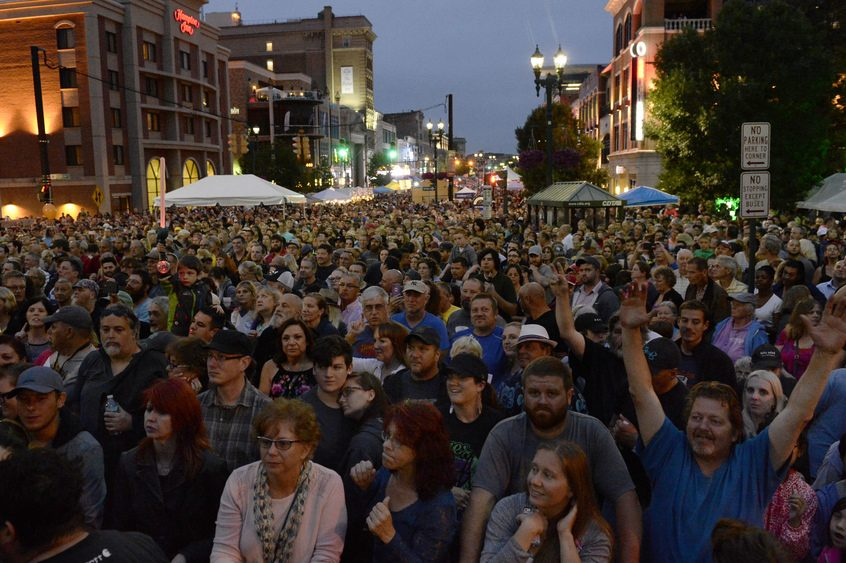Crowds fill State Street as Blues Traveler takes the main stage Friday night.