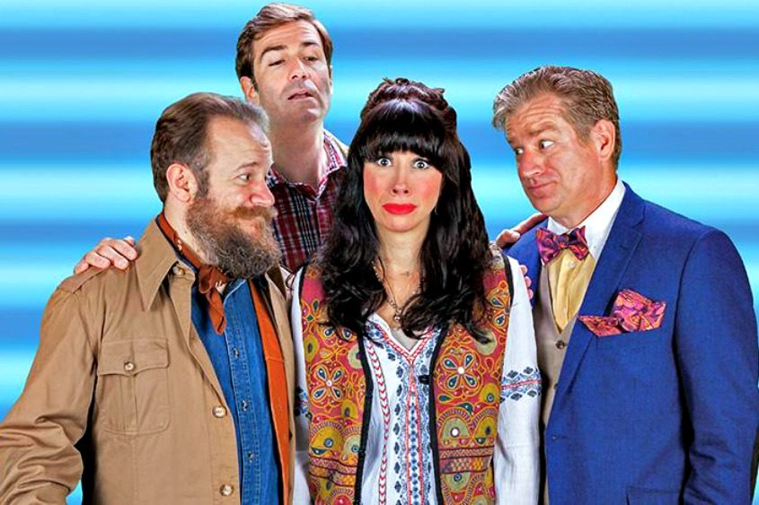 "From left: Brian Cali, Gil Brady, Lily Philistine and Gary Lindemann in ""Mamma Mia!"""