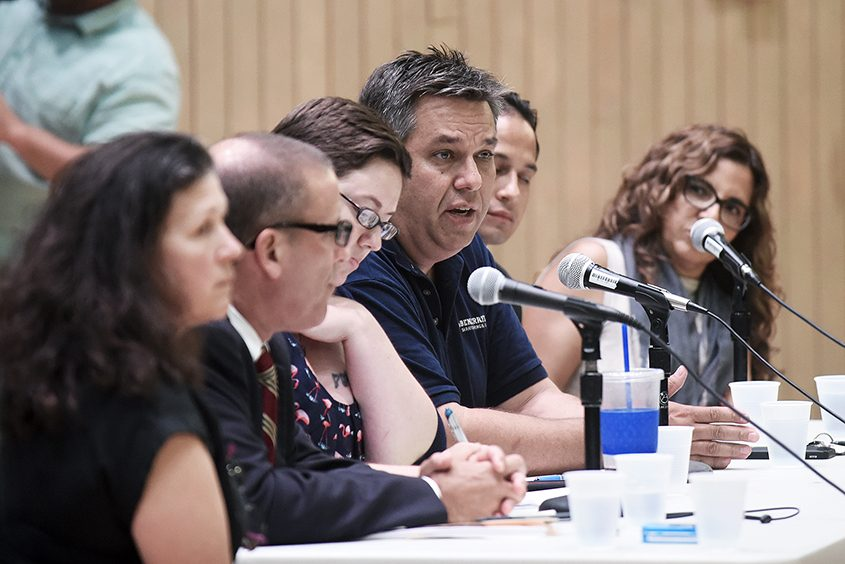 Panelist Patrick Pipino, Saratoga Springs downtown business owner, speaks during Monday's forum.