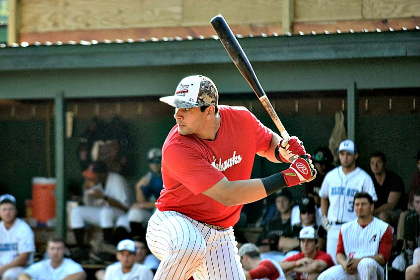 Amsterdam Mohawk Anthony Gonnella competes in the home run derby at Tuesday's PGCBL all-star event at Shuttleworth Park.