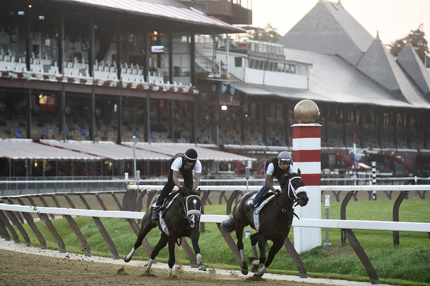 Exercise riders for trainer George Weaver on the main track Wednesday at the Saratoga Race Course.