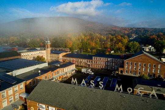 A view of the MASS MoCA art complex from a drone.
