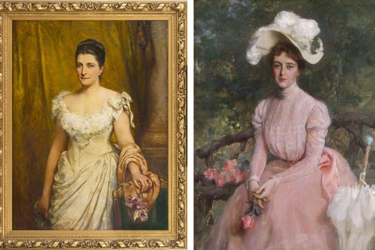 Left: Felix Moscheles' portrait of Mary Parker Corning, 1885; right: William Thorne portrait of Angelica S. Crosby, 1899.