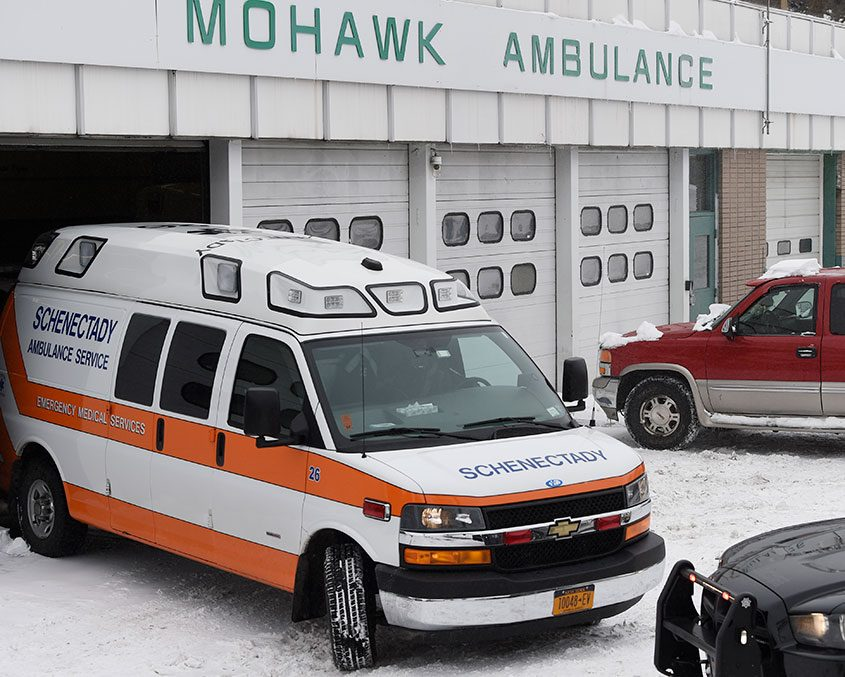 A Schenectady Ambulance leaves for Albany Medical Center in March 2017.