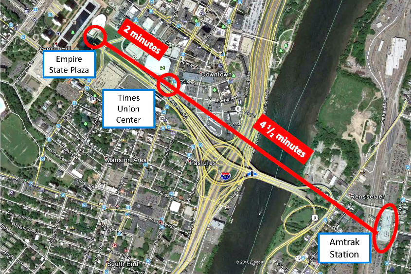 The path a proposed gondola over the Hudson River would follow.