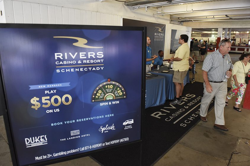 A Rivers Casino booth sits on the main grandstand floor at Saratoga Race Course.