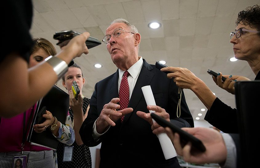Sen. Lamar Alexander (R-Tenn.) speaks to reporters at the Capitol in Washington on July 27, 2017.