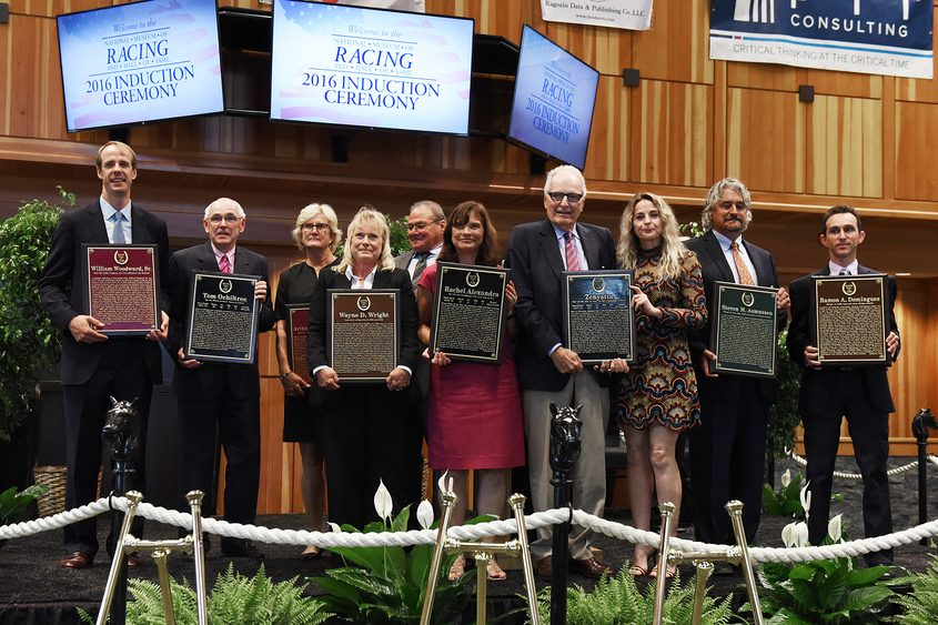 Inductees during the National Museum of Racing and Hall of Fame induction ceremony in August 2016.