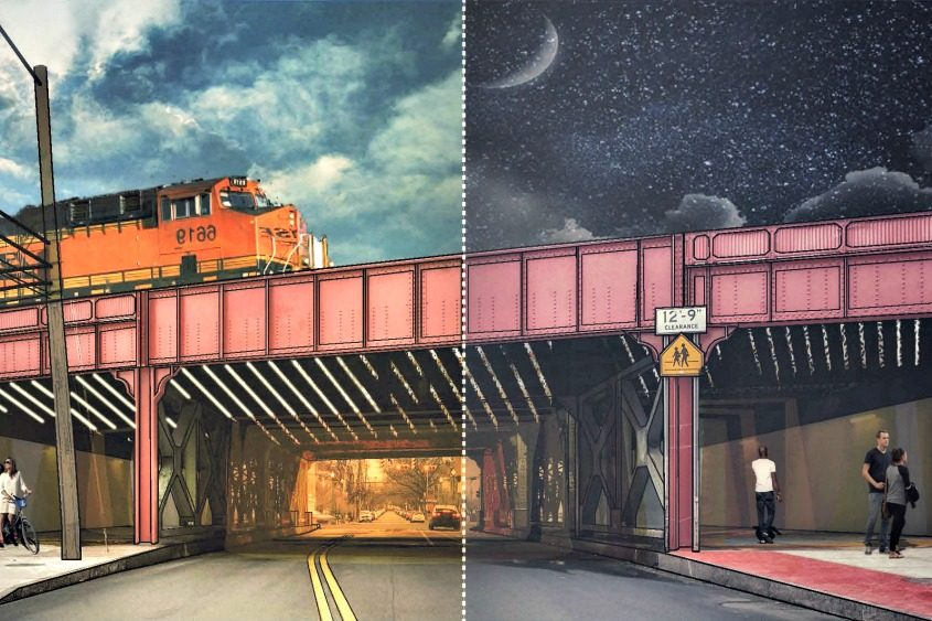 This image depicts the Union Street underpass, but not the gloomy, forbidding industrial space that now exists.