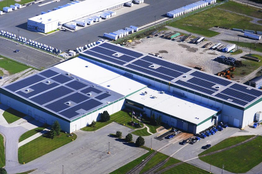 The rooftop photovoltaic panels at Dimension Fabricators in the Glenville Business and Technology Park.