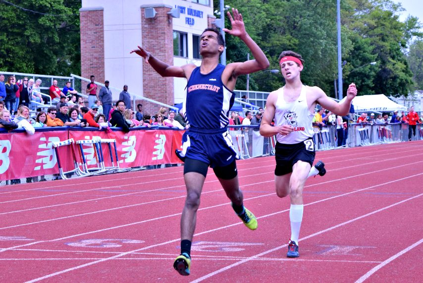 Schenectady High School distance standout Maazin Ahmed, shown winning at the 2016 Eddy Meet, is now a national champion.