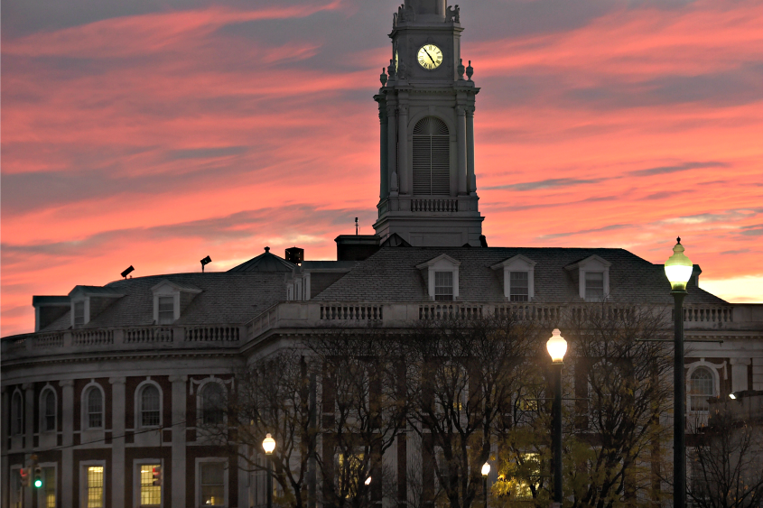 City Hall in downtown Schenectady at sunset in November 2016.