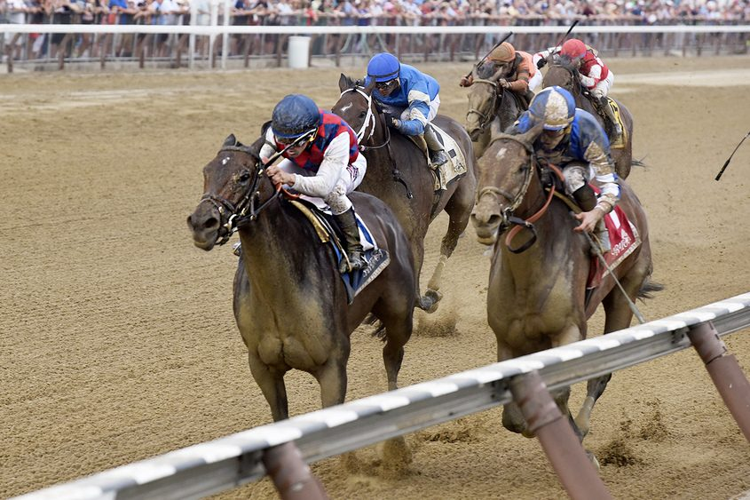 Javier Castellano, atop Carina Mia, wins the Shine Again Stakes earlier this month at Saratoga Race Course.