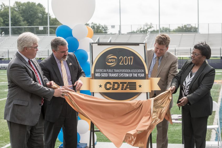 Officials unveil CDTA's recognition on Tuesday.