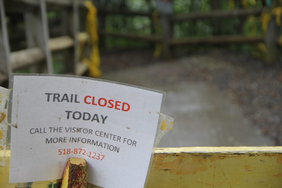The Indian Ladder Trail at John Boyd Thacher Park remains closed.