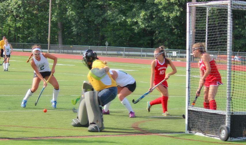 Shenendehowa forward Eliza Branch takes a shot on goal against Niskayuna goalie Alexa Lashway in the Plainsmen's 4-0 win Friday.
