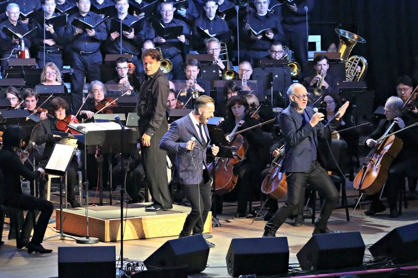 Alfie Boe (left) and Pete Townshend perform with the Boston Pops Esplanade Orchestra at Tanglewood on Saturday night.