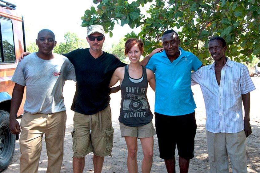 Rachael Yoder and husband Michael Herman (second from left) at the labor clinic in Mioka, Tanzania.