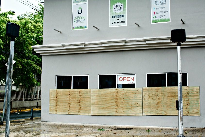 A boarded-up business in the Santurce district of San Juan as Hurricane Irma approached Puerto Rico on Sept. 6, 2017.