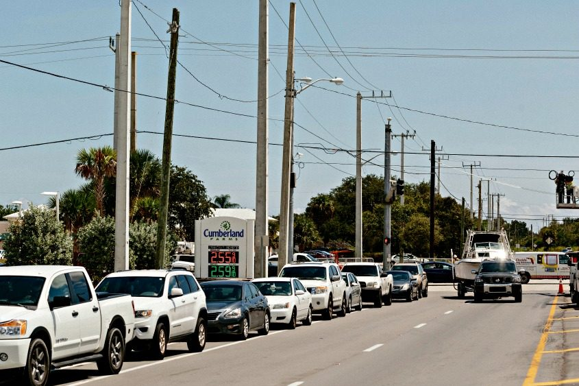 Cars line up for gas ahead of Hurricane Irma in Fort Pierce, Fla., on Sept. 7, 2017.
