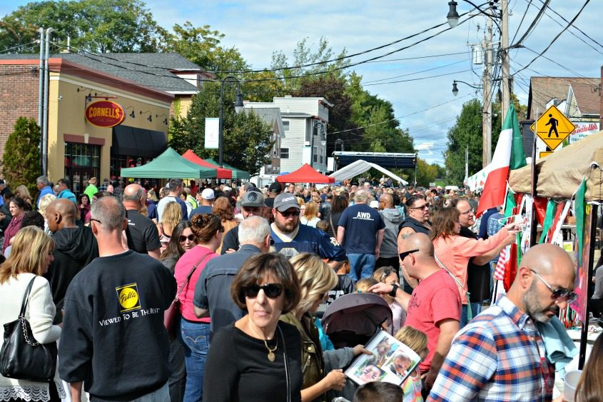People crowd the street at the Little Italy StreetFest in Schenectady on Saturday.