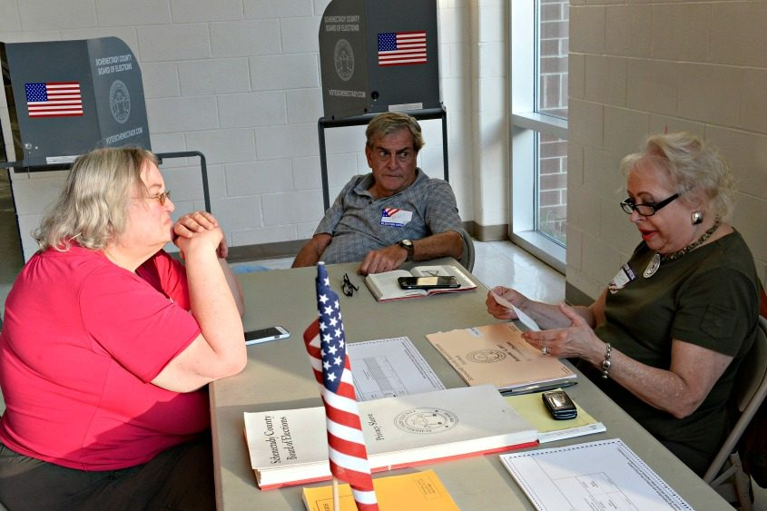 Voting technicians were at their stations on Tuesday.