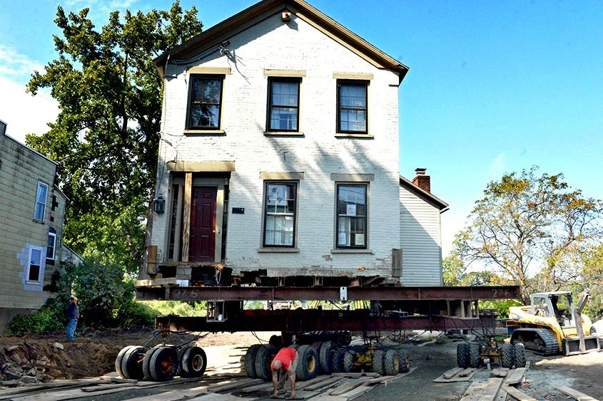 The house at 4 Washington Ave. was moved into its permanent place along Washington Avenue in Schenectady's Stockade.