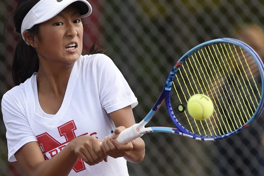 Niskayuna High School tennis player Christine Lee returns a shot against Burnt Hills-Ballston Lake Wednesday.