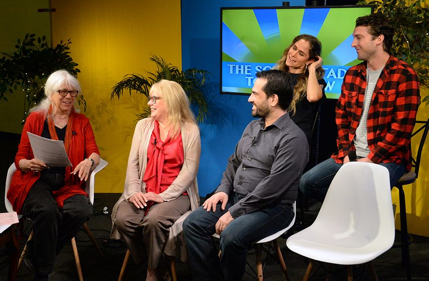 """On her show, Ann Parillo (left) talks with cast members from Capital Rep's """"Sex with Strangers."""""""