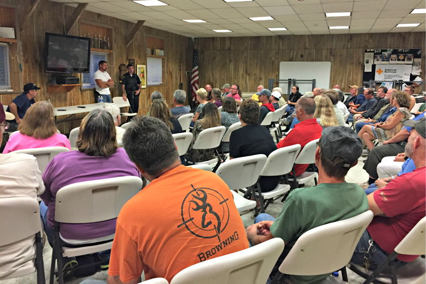 Nearly 50 residents showed up to a meeting at the Town of Glen Volunteer Fire Department to discuss burglaries.