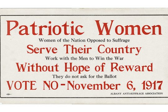 A poster displays a message from the Albany Anti-Suffrage Association.