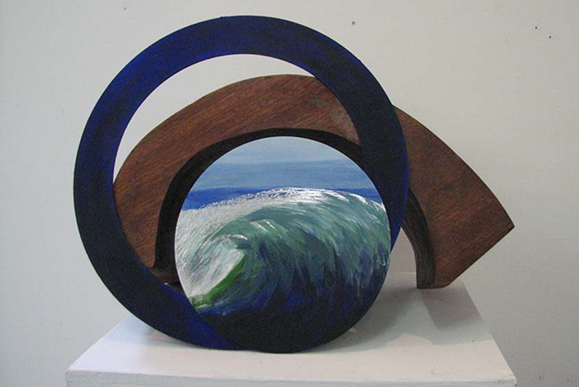 """Beverley Mastrianni's works often combine painting, drawing and sculpting, like """"Seaside #2,"""" part of the """"exhibit."""