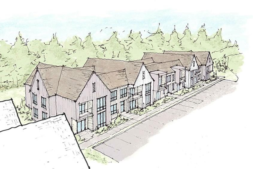 A drawing of Building B in the proposed development in Niskayuna.