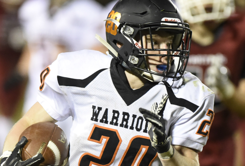 Mohonasen's Paul Archambault runs for the game-winning 56-yard TD in the fourth quarter of the Mighty Warriors' 27-26 win.
