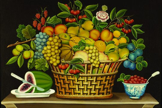 """""""Still Life with Basket of Fruit"""" by an unidentified artist."""