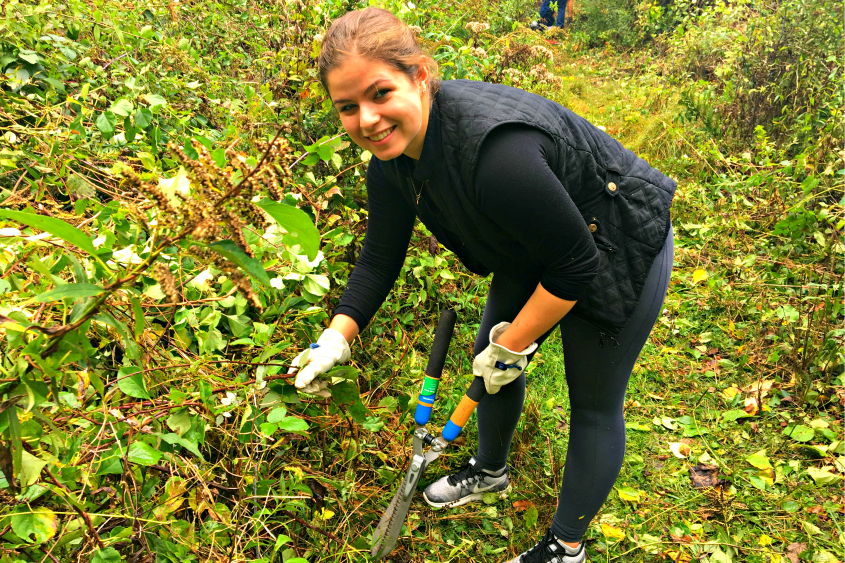 Union College junior Madison Corcoran prepares to trim brush from a nature trail.