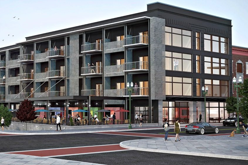 A rendering provided by Re4orm Architecture shows proposed changes to 136 State St. in Schenectady.