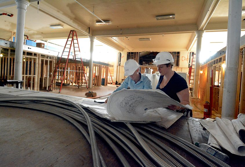 Project Manager Jennica Huff, left, and Kristen Holler, director of the Albany Barn, at the former St. Columba's School.