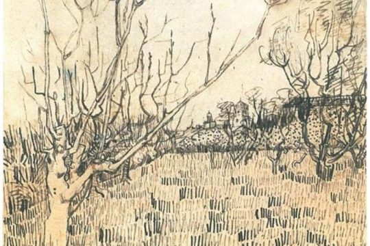 """Van Gogh's """"Orchard with Arles in the Background."""""""