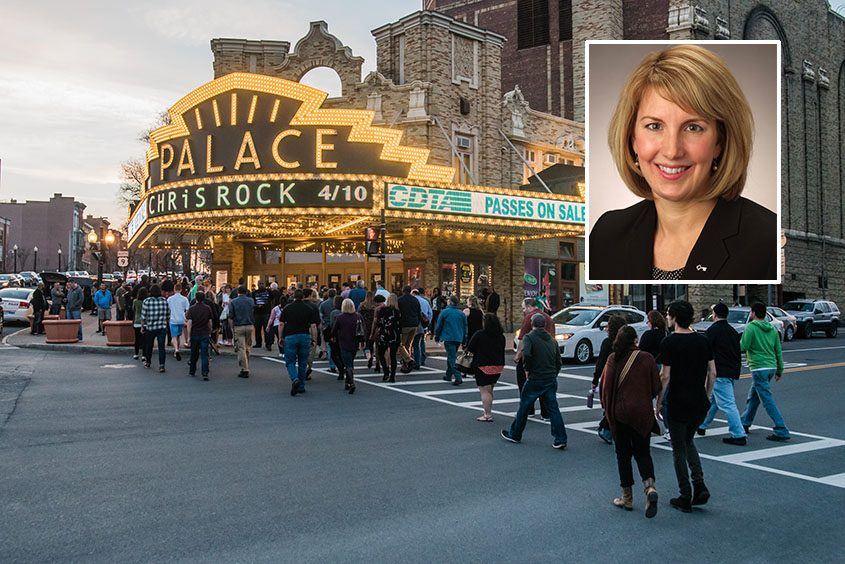 Susan Rosko Fogarty (inset) and a file photo of the Palace Theatre in Albany.