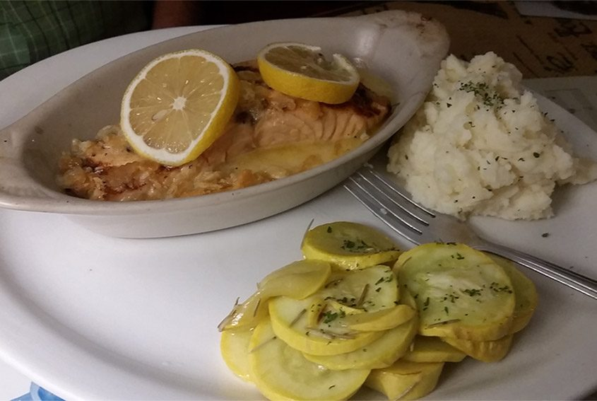 Grilled salmon with mashed potatoes and yellow squash at Nostalgia.