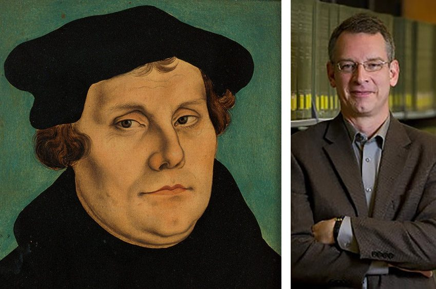 Martin Luther, left, in an early 16th century painting, and Notre Dame professor Brad Gregory