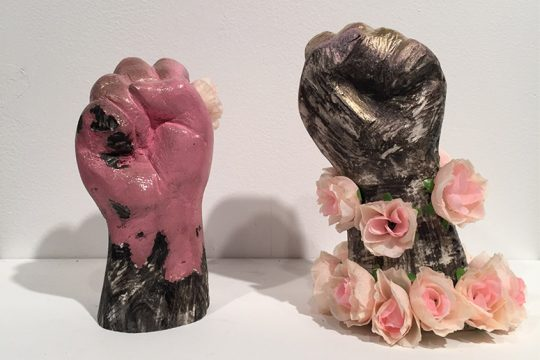 """""""Resist #1"""" and """"Resist #2,"""" works by Theresa Van Duyne, are among the items for sale at the """"Nasty Women of the North"""" exhibit."""