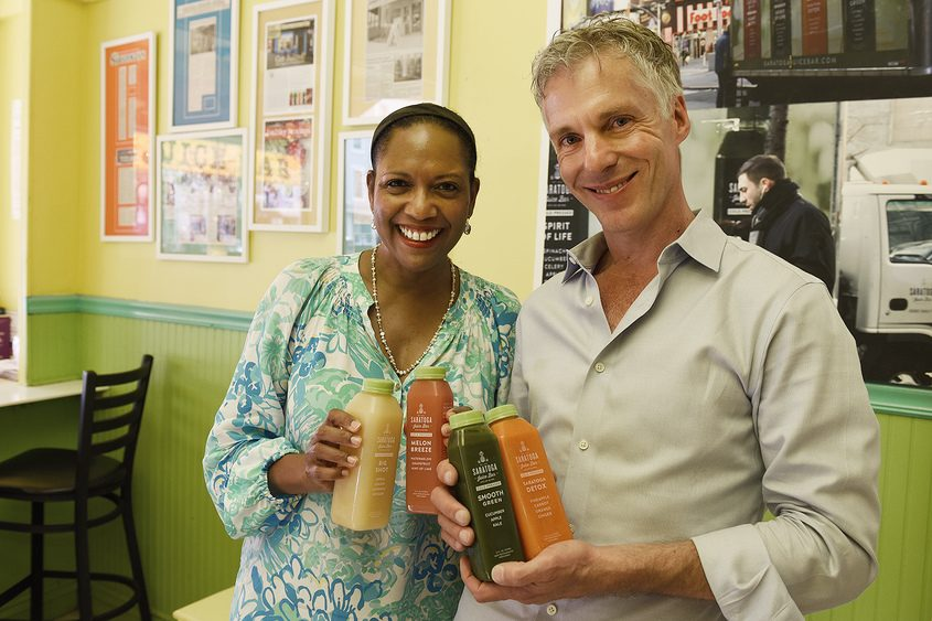 Co-owners Christel and Colin MacLean at Saratoga Juice Bar on Broadway in Saratoga Springs.